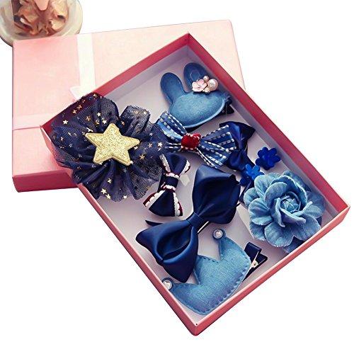 Cozywind Haarspangen Haarbögen für Mädchen Baby Haar Clip für Kinder Boutique Haarklammern Haarschmuck Set mit Geschenkbox für Kleinkind Barrettes 10pcs (Blau)