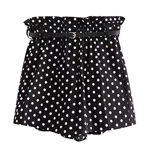 Cinnamou Pantalones Cortos Mujer Lunares, Pantalones Cortos Elegantes con Bolsillos, Niña Cintura Alta Pantalones Cortos con cinturón Casual del Verano sólidos Pants Shorts (Negro, L)