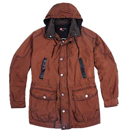 Herren Outdoor Jacke in khaki und braun aus gewachster Baumwolle, wasserabweisend mit Reißverschluss und Sturmmanschette Braun