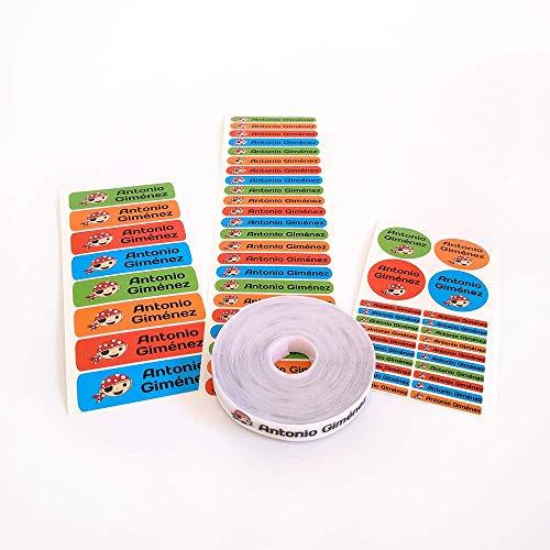 Pack 155 etiquetas personalizadas para [marcar ropa y objetos](https://www.bebesymas.com/otros/como-marcar-la-ropa-del-colegio-para-los-peques). 100 Etiquetas de tela termoadhesiva + 55 etiquetas adhesivas de vinilo. (Color 1)