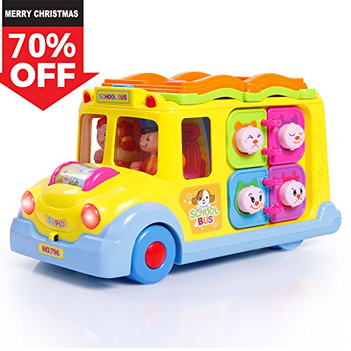 SGILE Activity Musical School Bus, Learning Toy with Omni-directional Auto-Sensing Wheel, Multiple Games Light and Various Animal Sounds, Gift for Toddlers Babys