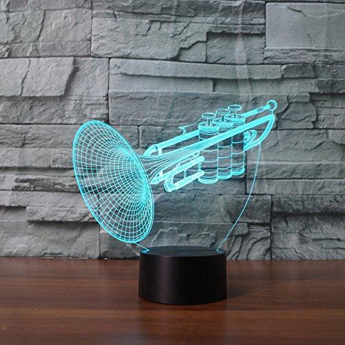 3D musikinstrumente trompete Illusions Lampen, Tolle 7 Farbwechsel Acryl berühren Tabelle Schreibtisch-Nachtlicht mit USB-Kabel für Kinder Schlafzimmer Geburtstagsgeschenke Geschenk