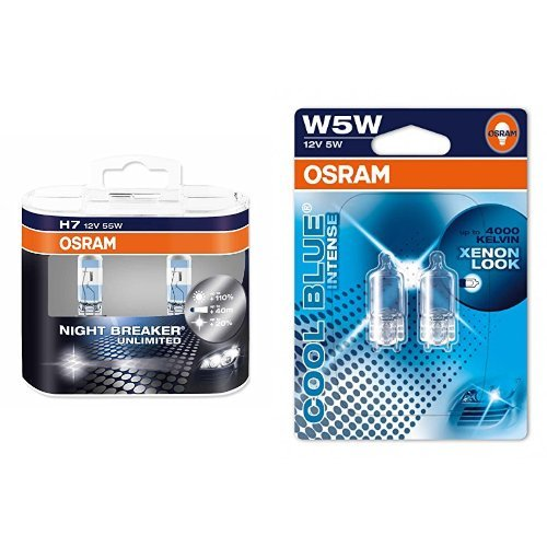 OSRAM H7 Night Breaker Unlimited Halogen-Scheinwerfer Duobox und W5W Cool Blue Intense Standlicht, je 2 Lampen