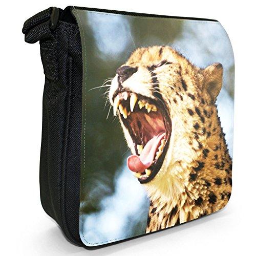 Wild Cat ghepardo piccolo nero Tela Borsa a tracolla, taglia S Growling Cheetah