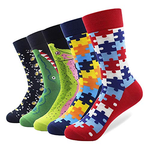 LILIKI@ 5 Paare/Los Männer Klassische Lustige Gekämmte Baumwolle Socken Puzzle Bär Crocodile Long Casual Crew Socken Glücklich Crazy Dress Socken