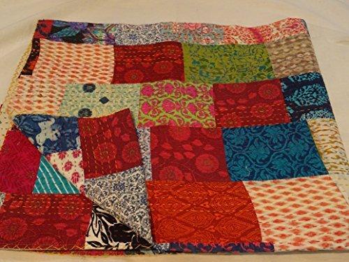 extilien Multi Color Block Print Patchwork Queen Size Kantha Steppdecke, Kantha Decke, Bett, King Kantha Tagesdecke, Bohemian Betten Kantha Größe 228,6x 274,3cm 1111 ()