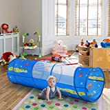 WolfWise Play Tunnel Pop-up Children Tunnel Kids Portable Discovery Crawl Tunnel with Mesh, 6 Feet, 190T Polyester, Blue
