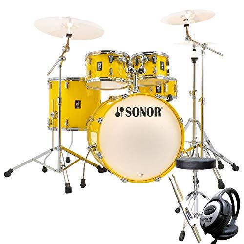 Sonor AQ1 Stage Set Schlagzeug Lite Yellow + keepdrum Zubehör