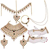 Lucky Jewellery Maroon Green Non-Precious Metal Bridal Jewellery Set for Women