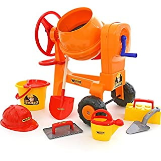 Polesie Polesie50649 Play Cement-Mixer with Bucketset Worker Construct, (Box) -Summer Toys-8-Pieces, Multi Colour
