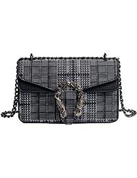 ceb2de5ec541f Umhängetaschen Damen Crossbody Tasche Kariert Mini Neu Kette Bag Mode  Vintage Damentasche Deckel Umdrehen PU Leder…
