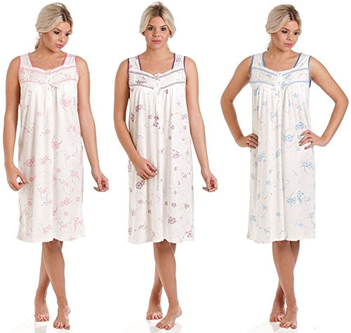 Sleeveless Nightdress Poly Cotton Floral Ladies New Womens Nightwear Size 10-32