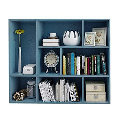 Cvbndfe-HOME Bücherregal mit 3-stöckigen offenen Würfeln und Regalen mit 8 Rastern, freistehendem Bücherregal und Vitrine - Blau (Farbe : Blau, Größe : 96 * 24 * 80cm) -