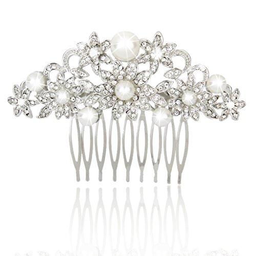 Peigne à Cheveux Décoratif en Strass et Perles Artificielles Floral Accessoire de Mariée pour Mariage