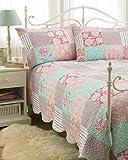 Hotel Qualität Luxus groß geätzt Country Patchwork Tagesdecke & Kissenbezüge Pink Duck Egg Blau 240x 260cm-241,3cm-259,1cm