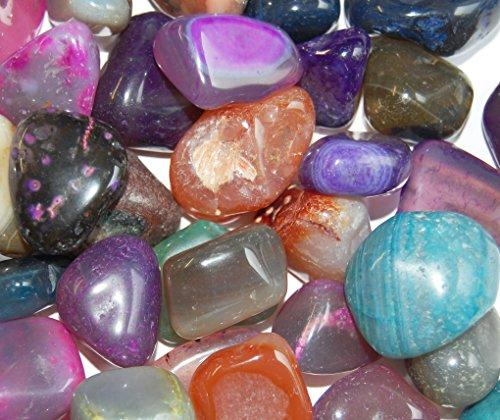 Edelsteine, polierte Trommelsteine, Achate, bunte Mischung, Größe 2 bis 3 cm, 500 g-Beutel
