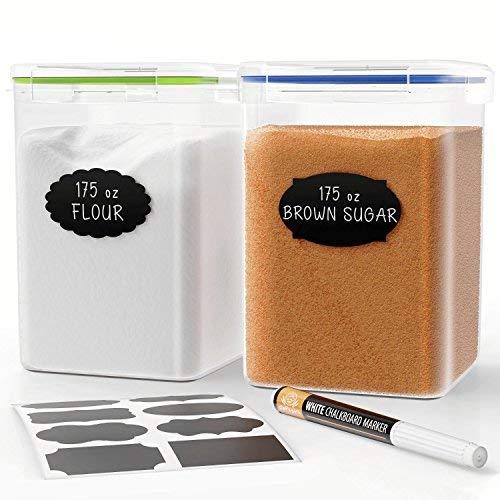 Extra große hoch Frischhaltedosen 175oz, für Mehl, Zucker, Backen Supplies-Beste luftdicht Küche & Pantry Bulk Frischhaltedosen-BPA-frei-2pc Set Pen & 8Kreidetafel Etiketten-Chef 's Path (Küche Kanister Chef)