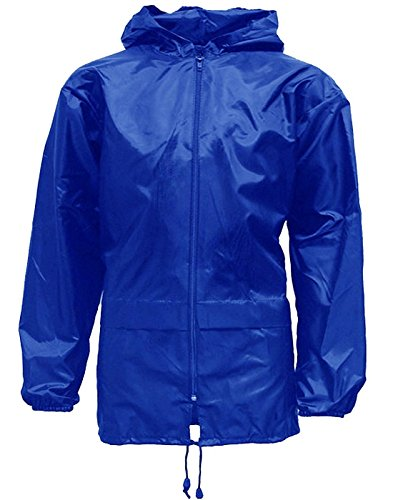 Unisex Kids Boy Girl Waterproof Plain Raincoat Mac Kagoul Jacket Hooded Cagoul