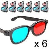 6er SET 3D-Anaglyphenbrille für TV oder PC-Spiele (rot/blau), 3D Brille für Fernseher, 3D-Gläser mit Anaglyphen-Technologie - Marke Ganzoo