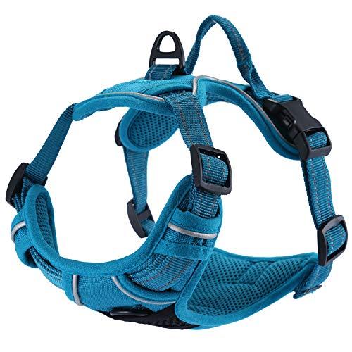 Einstellbare, nicht gezogene Hundegeschirre Haustierweste mit 3m reflektierendem, weich gepolstertem Schwerlastgriff für Training oder Gehen (M-Brust Größe: 22-27in, Blau) -