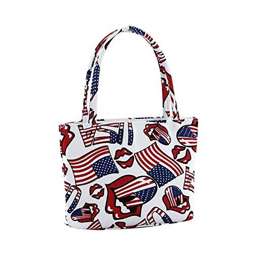 Hrph Fashion Girl Schöne Canvas Handtasche Frauen tägliche Einzelschultertasche weiblich Leinwand-Strand-Tasche gedruckt Taschen (Fashion Canvas Handtasche)