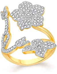 VK Jewels Splendid Flower Gold And Rhodium Plated Alloy CZ American Diamond Adjustable Ring For Women [VKFR2789G]