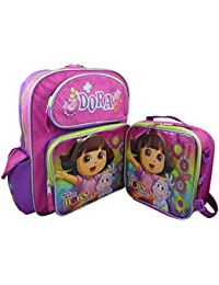 "Nickelodeon Dora The Explorer Deluxe Set Of 16"" School Backpack & Lunch Box Kit"