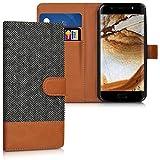 kwmobile Étui portefeuille en cuir synthétique pour Wiko WIM - étui avec compartiment pour carte de visite et carte de crédit avec fonction support pratique en anthracite marron