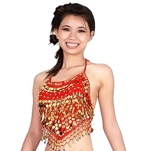 Belly Danse Costume Femme,Moresave Latin Danse Cropped Top danse soutien-gorge du ventre top Rouge