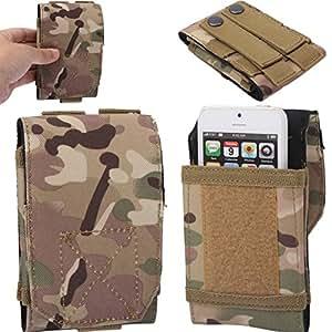 Armée Militaire universel Randonnée Camouflage tactique sac housse étui coque pochette ceinture crochet Clip ceinture pour Huawei Ascend (g6, 300, G510, G525, G600, G615, G630, G700, G740, P1, P2, P6, P6S, P7, P7mini, plus)–Motif camouflage Vert