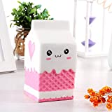 #5: BRIDA® Slow Rising Squishy Toys Fidget Toys Cute Squishies Squeeze Stress Reliever for Girls / Kids / Adults (White Milk Carton)
