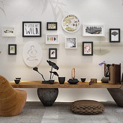 Unbekannt Global- Kiefernholz-Wand-Foto-Rahmen-klassischer einfacher Auftritt-Hauptdekor-Entwurfs-hängende Wand-Foto-Wand, Satz von 11 Collagen-Rahmen (Farbe : Schwarz+Weiss) (11 Foto-collage-rahmen)