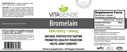 DOUBLE PACK (Pack of 2) Vitasense Bromelain 2400 GDU 500 mg – Digestion MAX – 60 Veg caps