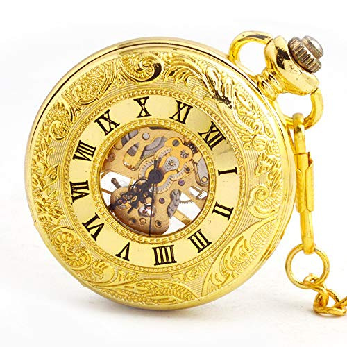 Kostüm Männliches Skelett - Taschenuhr Vintage industrielle goldene römische Digitale mechanische Uhr männliche und weibliche Halskette Geburtstagsgeschenk (Color : Gold)