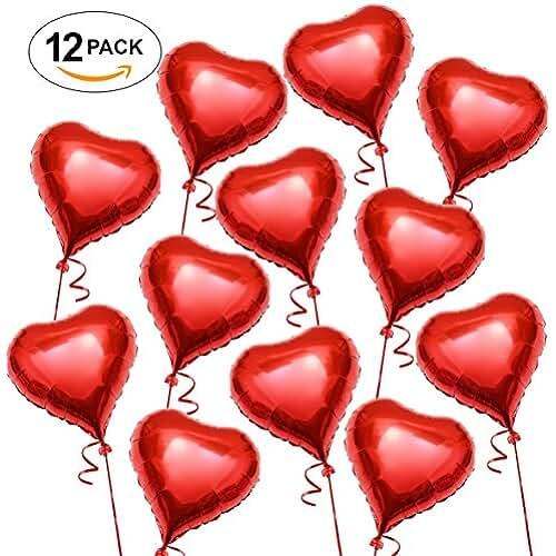 Globo de Helio en Forma de Corazón. 45 CM, Globos Románticos Rojos, día de San Valentín. Regalo de San Valentín Amor y Decoración (Paquete de 12 Unidades)