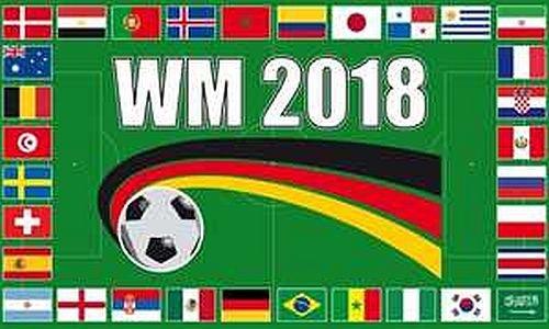 Fahne - WM 2018 - Flagge - 90x150 cm - Hissfahne mit Ösen - ALLE LÄNDER - 32 Teilnehmer -