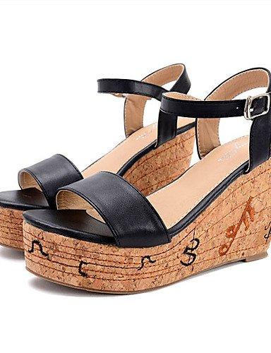 UWSZZ IL Sandali eleganti comfort Scarpe Donna-Sandali-Formale-Zeppe / Plateau / Aperta-Zeppa-Finta pelle-Nero / Bianco Black