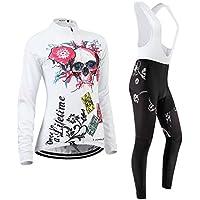 (Cojín 3D)(traje(Forro polar & strap blancas) tamaño:M) rompevientos manga ciclismo los larga Moda chaleco mujer ropa Jerseys maillot rendimiento de transpirable para sudo