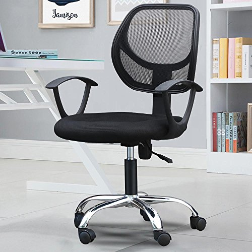 Popamazing Comfortable Breathable Mesh Fabric Seat Swivel Black Office Chair Height Adjustable Gas Lift