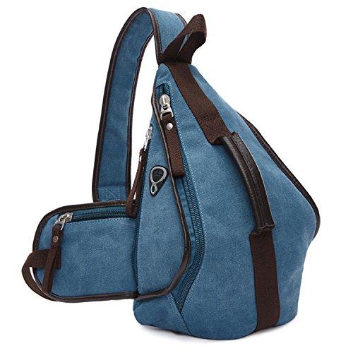 MeCooler Herren Brusttasche Vintage Schultertasche Umhängetasche Retro Messenger Bag Kuriertasche Herrentaschen Canvas Taschen für Sport Reisetasche Sporttasche Blau