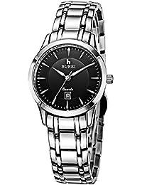 Relojes Hermosos, BUREI 700101 Multifuncional 3ATM impermeable reloj de pulsera amantes de cuarzo con banda de acero inoxidable y ventana de zafiro y Big Dial, Luminoso y función de pantalla de calendario para hombres ( SKU : WA0991F )
