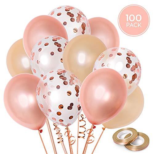 100 Rosa Gold Ballons Set + 100m Band | Rosa Gold, Rosa Gold Konfetti + Champagnerfarbene | 12 Zoll (30,48 cm) Latex Luftballons | Hochzeit & Geburtstags Dekorationen