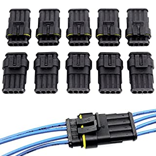 10 Pcs Superseal Waterproof Electrical Terminal Wire Connector Plug for Car Motorcycle Scooter Auto Truck Marine (4 Pin)