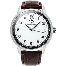 Mercedes Benz - Reloj deportivo redondo de cuarzo, esfera blanca, correa marrón, batería