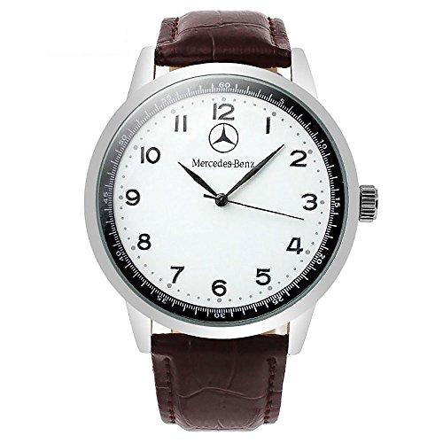 Mercedes Benz, orologio sportivo, dotato di movimento al quarzo, con quadrante rotondo e bianco, cinturino marrone, la confezione include batteria di ricambio e sacchetto