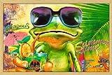 Poster mit Rahmen 61 x 91,5 cm, Holz Natur - Cooler Frosch mit Sonnenbrille gerahmt - Antireflex Acrylglas
