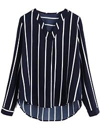 bebef6407daa TWIFER Frauen V-Ausschnitt Lässige Polka Striped Print Langarmshirt Top  Bluse