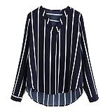 TWIFER Frauen V-Ausschnitt Lässige Polka Striped Print Langarmshirt Top Bluse