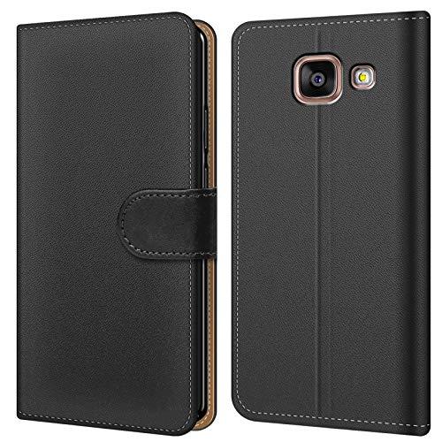 Conie BW28567 Basic Wallet Kompatibel mit Samsung Galaxy A5 2016, Booklet PU Leder Hülle Tasche mit Kartenfächer und Aufstellfunktion für Galaxy A5 2016 Case Schwarz