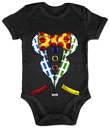 HARIZ Baby Body Kurzarm Clown Kostüm Knöpfe Fliege Karneval Kostüm Plus Geschenkkarten Pinguin Schwarz 3-6 Monate